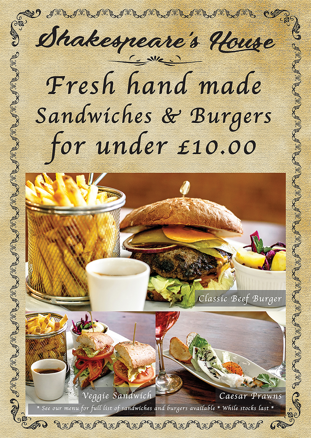 Sandwich and Burger £10